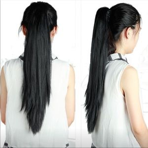 Black Clip In Ponytail Extension